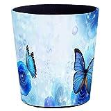 LZT 10L Classic PU Leather Waste Paper Basket Bathroom Waterproof Waste bin Storage Box Kitchen Office Wastebasket (Butterfly Pattern) G-10L