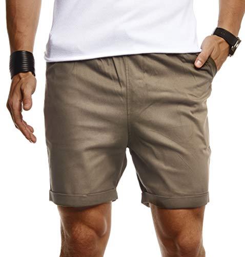 Leif Nelson Herren Kurze Hose für Sommer Slim Fit Kurze Chino Herren Shorts Hose für Männer Kurze Jogginghose Sommer Kurze Chinohose für Freizeit Cargo schwarz Bermuda LN8290 Khaki Medium