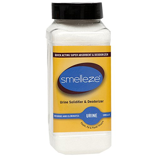 SMELLEZE Urine Super Absorbent, Solidifier & Deodorizer Granules [32 oz. Bottle] Rapidly Solidifies Urine & Diarrhea in Pet Loo, Dog Litter Box, Pet Potty Trainer, Portable Urinals/Toilets, Bedpans