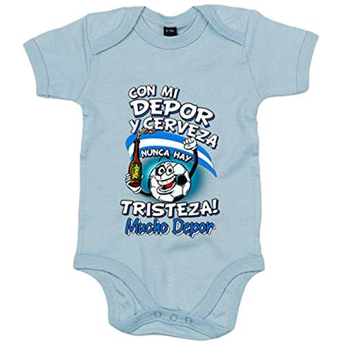 Body bebé frase con mi Depor y cerveza nunca hay tristeza La Coruña fútbol - Celeste, 6-12 meses
