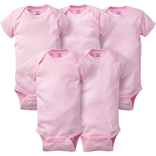 GERBER Baby 5-Pack Solid Onesies Bodysuits, Pink, 6-9 Months