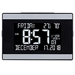 "hito 9.5"" Mains Powered Large Digital Desk Clock Wall Auto Dimmer 7:00pm-7:00am Dual Alarm DST Calendar Date Day Indoor Temperature Humidity Modern Decorative for Bedroom, Kitchen, Office"
