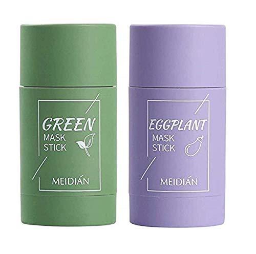 Detrade Grüner Tee Purifying Clay Stick Mask Ölkontrolle Gesichtsmaske, Stick Deep Cleansing Anti-Akne-Maske Fine Solid Mask Green Tea, Auberginen Akne Cleansing Solid Mask (Grün + Lila)