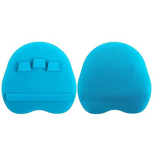 MAHALAXMI Cepillo de Ducha de Silicona Suave de 2 Piezas, Gel de Ducha para el Cuerpo, la Cara y el Pelo Corto, Exfoliante de Ducha para Masaje cutáneo, (Colores Combinados) (Azul)