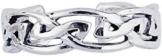 Sterling Silver With Rhodium Finish Shiny Textured Cuff Type Toe Ring With Pattern