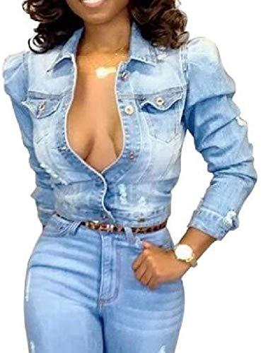 Stgfstydt Women's Jean Ripped Destroyed Button Up Short Crop Denim Trucker Jacket Coat,Blue,Medium