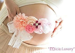 幸せのマタニティフォト撮影用サッシュリボンベルト&生まれてきたベビーのヘアバンドセット☆サーモンピンク