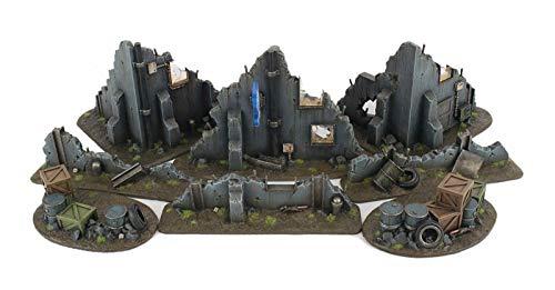 War World Gaming War-Torn City Set de Edificios en ruinas y Campo de Batalla Urbano con barricadas 28mm/Heroica - Sci-Fi, Wargame Futurista, Miniaturas, Apocalipsis Zombi, Necromunda, Wargaming