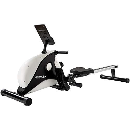 Merax Rudergerät für zu Hause, Klappbar, Leises Magnetbremssystem,LCD-Monitor und 8-stufigem Widerstandsanpassungs-Fitnessgerät