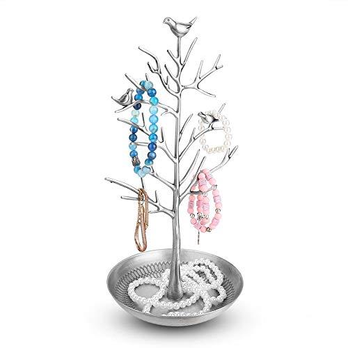 Soporte para joyas de Metal con Forma Pendiente colgante collar pendiente sostenedor(Plata)