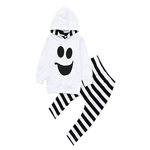 BBSMLIN Disfraz Niño Halloween 1-4 Años Sudadera con Capucha y Estampado de Fantasma + Pantalón A Rayas