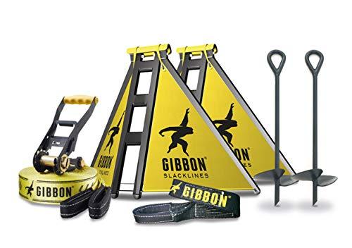 Gibbon Slacklines Independence Kit Classic, Slacklinen ohne Bäume, mit 2 Slackframes, 2 x 70cm Bodenschrauben und Classic Line 15m, Aufbauhöhen: 30/50/70 cm, für Anfänger, perfekter Freizeitsport - 4