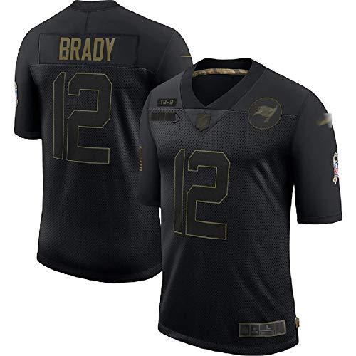LKJHG Gedenk-American-Football-Trikot Tampa Bay 12# Brady Ganz schwarz kurzärmeliges Polyester-Rugby-Shirt für Männer Jugend mit Stickerei, S-XXXL M