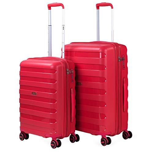 JASLEN - Set van 2 JASLEN Trolleys koffers Maten 50/60 Gemaakt van polypropyleen, een licht en bestendig materiaal. TSA + uitschuifbaar hangslot 161215, Color Rood