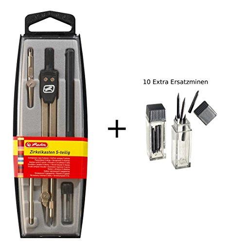 Herlitz Zirkelkasten / 5tlg. + 10 Extra Ersatzminen