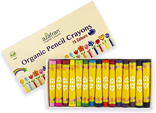 Azafran Organic Pencil Crayons - Pack of 15 Colored Thins, Non Toxic Ingredients, Non-Greasy, Eco Friendly, Food Grade Colors, for Toddlers, Fun with Playing and Stacking - 127 Grams