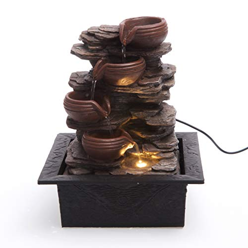 Cascading Bowls on Rocks Formation Indoor Water Fountain with LED Light |...