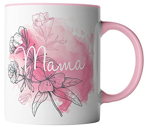 vanVerden Taza – Mama flores acuarela madre rosa – Impresión por ambos lados – Idea regalo para el Día de la Madre con frase, color de la taza: blanco/rosa