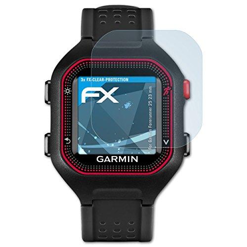 atFoliX Schutzfolie kompatibel mit Garmin Forerunner 25 23 mm Folie, ultraklare FX Bildschirmschutzfolie (3X)