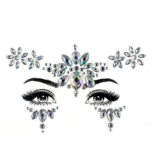 PENVEAT Ambiental Colorido Cristal Cara Pegatinas para Mujeres Fiesta decoración Diamante ceja Palo Taladro DIY Rhinestone Cara Pegatina, Z4