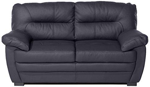 Mivano 2er-Sofa Royale / Zeitloses, bequemes Ledersofa mit hoher Rückenlehne / 160 x 86 x 90 / Lederimitat, Schwarz