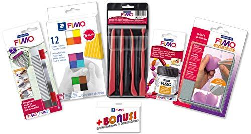 Staedtler FIMO Profi Bastelset mit 12er Materialpackung, Cutter, Werkzeuge, Glanzlack und Schleifschwämme inkl. BONUS
