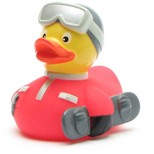 Duckshop I Badeente Snowboard rot I Quietscheentchen - L: 9 cm