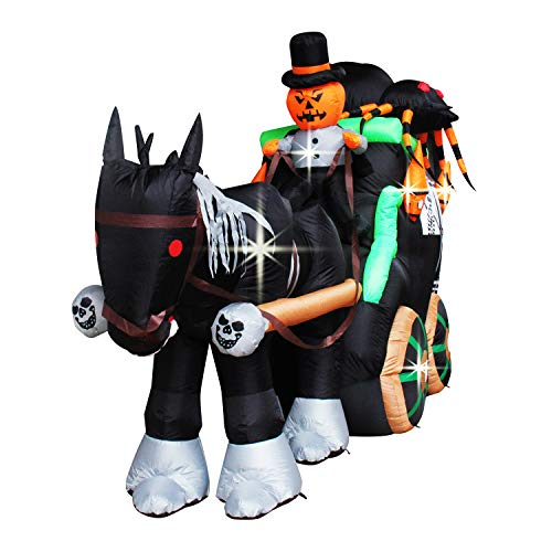 Giant Inflatable Pumpkin Driving Skull Carriage with Spider for Halloween Decor