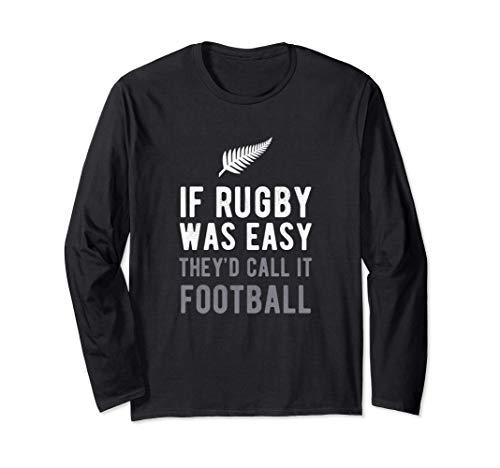 Funny New Zealand Rugby NZ Silver Fern Football Gift Maglia a Manica