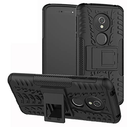 LiuShan Moto E5 / G6 Play Coque, Shockproof Robuste Impact Armure Hybride Béquille Housse Coque Étui Couverture pour Motorola Moto E5 / G6 Play Smartphone(4 en 1 Cadeau emballé),Noir