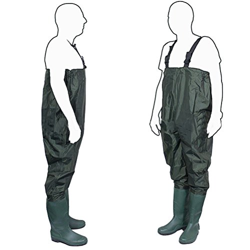 OULII Waders Fishing Trousers Waders PVC/Rubber Pond Pants Brule River Chest Wader with Cleat Sole - Size 43
