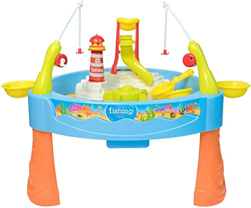 JoyKip Small Fishing Sand and Water Play Table for Kids - 2 in 1 Magnetic Water and Sand Play Pond Table, - Perfect for Indoor and Outdoor Play - Educational Toy with Lights and Sound Effects