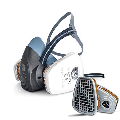 GOMOOY Atemschutzmaske Gasmaske Doppelfilter Ffp3 8 ERSATZ Filter INBEGRIFFEN | Halbmaske Staubmaske Atemschutz Arbeits Schutz Für Sprüh Chemikalien Pestizid Dämpfe Lackiermaske |