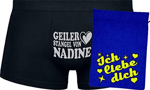 Herr Plavkin Geschenk | Geiler Stängel von Nadine | Black Boxers | Blue Bag | Yellow ''Ich Liebe Dich ''