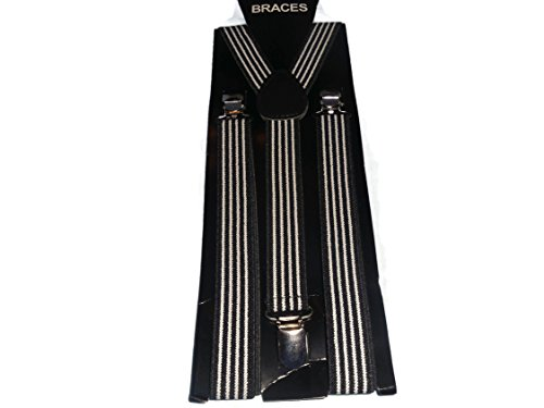 Inconnu Easy Attached Vertical Black & White Stripe Design Adjustable Braces - Bretelles - Homme Vertical Black & White Stripe Taille Unique