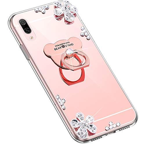 Uposao Kompatibel mit Huawei Y7 Pro 2019 Hülle Glitzer Diamant Glänzend Strass Spiegel Mirror Handyhülle mit Handy Ring Ständer Schutzhülle Transparent TPU Silikon Hülle Tasche,Rose Gold