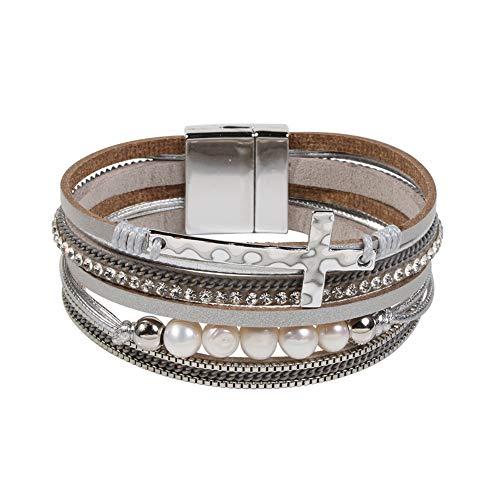 Women Cross Bracelets Jewelry - Leather Bracelet Bangle with Cross Pearl, Wrap Bracelet for Girls, Sister and Mom (Gray)