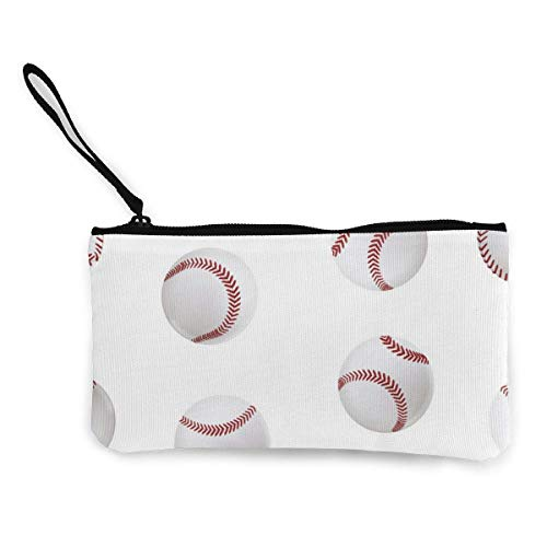 Realistic Detailed 3D Baseball Leather Ball Men's and Women's Cute Fashion Personality Canvas Coin Purse with Zipper Makeup Bag with Wrist Strap Cash Callphone Bag 8.5 X 4.5 Inch-O4L
