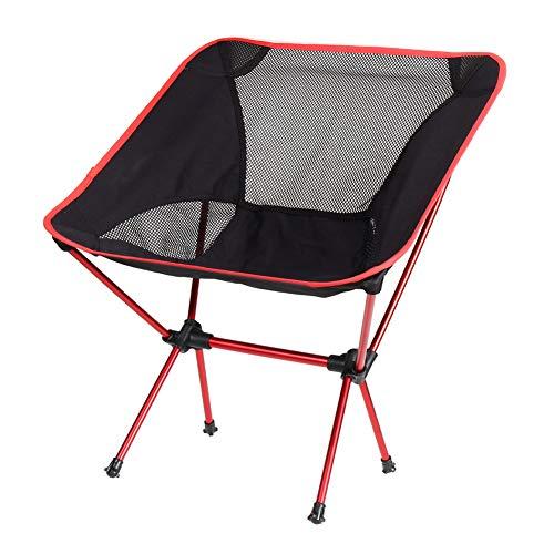 HSXQQL Klappstuhl Tragbarer Klappstuhl Sitz Atmungsaktiv Ultraleicht Netto Hocker Angeln Camping Wandern Gartenstuhl Mit Tasche Picknick Stuhl, rot