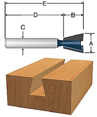 Vermont American 231141/2von 15-degree Hartmetallbestückt Schwalbenschwanz Router Bit, 2-flute 1/4-Zoll-Schaft von Vermont American