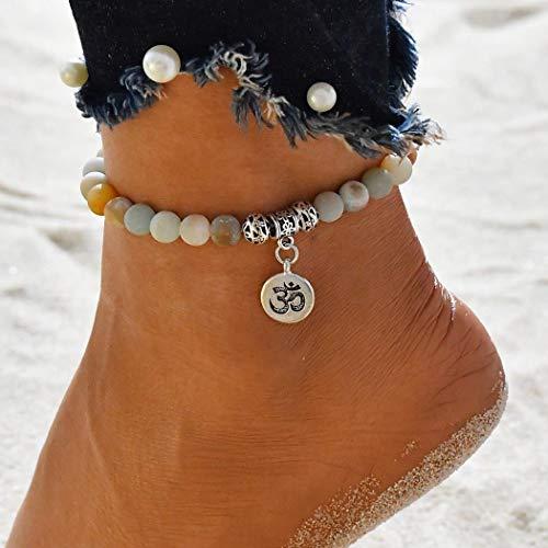 Jovono Boho Pulseras para el tobillo de piedra natural Pulseras de tobilleras en la playa para mujeres y niñas (Plata)