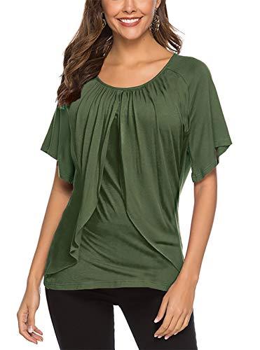 Uniquestyle Damen Sommer Kurzarm T-Shirt Tiered Ruffle Bluse Solide Tunika Sommer Oberteile Tops Grün M