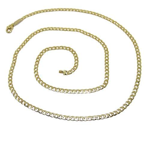 Cadena de Oro Amarillo de 18k para Hombre Tipo barbada Plana de 3mm de Ancha y 60cm de Larga. Cierre mosquetón