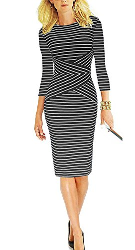 REPHYLLIS Women 3/4 Sleeve Striped Wear to Work Business Cocktail Party Summer Pencil Dress Black XXL