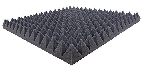 Akustikpur Akustikschaumstoff Pyramidenschaumstoff - Schalldämmmatten zur effektiven Akustik Dämmung, ca. 49 cm x 49 cm x 5 cm