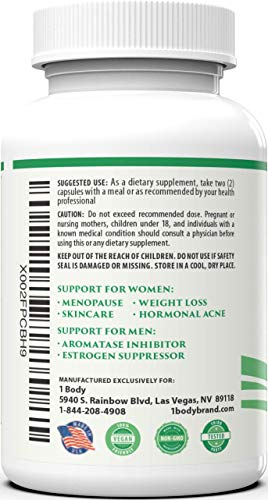 DIM Supplement with Black Cohosh – 200 mg – Menopause Support, Hormone Balance for Women & Estrogen Blocker for Men, Hot Flash Relief, Acne Treatment, PMS Support & Menopause Weight Loss Supplement