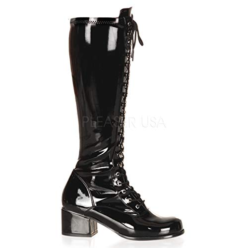 Funtasma by Pleaser Women's Retro-302 Lace Up Gogo Boot,Black Patent,8 M US