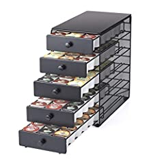 ORGANIZE 90 K-CUP COFFEE PODS - Neatly organize up to 90 of your favorite K-Cup pods for quick and easy access. STORAGE ON TOP OF DRAWER UNIT - Store coffee cups, mugs, creamers, or other accessories on top of the drawer to keep all of your coffee ac...