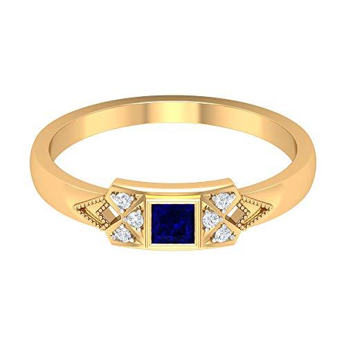 Rosec Jewels 14 quilates oro amarillo round-brilliant-shape princess-shape H-I Blue Diamond Blue Sapphire