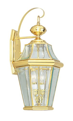 Livex Lighting 2261-02 Outdoor Wall Lantern with Clear Beveled Glass Shades, Polished Brass
